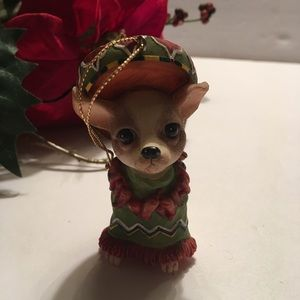 Ceramic Chihuahua Mexican Dressed Dog Ornament